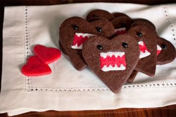 คุกกี้โดโมะ น่ารักๆ chocolate domo-kun heart cookies 2 - white chocolate