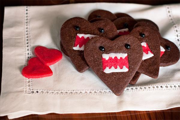 คุกกี้โดโมะ น่ารักๆ chocolate domo-kun heart cookies 13 - white chocolate