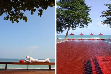 "THE LIBRARY ""เดอะ ไลบรารี่"" เกาะสมุย กับสระว่ายน้ำสีแดงแปลกตาที่เปิดโล่งให้เห็นวิวทะเล และผู้รักการอ่านหนังสือ 9 -"