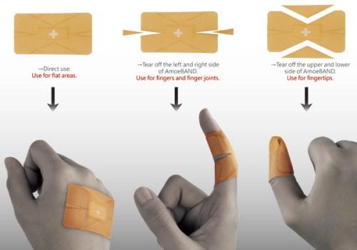 amoe bandaid 500x350 AmoeBand พลาสเตอร์ติดแผลตามเฉดสีผิว และ พลาสเตอร์ที่สามารถเปลี่ยนรูปร่างตามสิ่งแวดล้อม