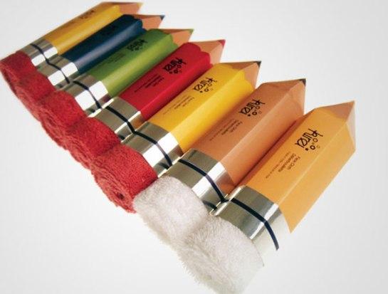 Packaging ผ้าขนหนู..แนวคิดเจ๋งๆ ที่ทำเป็นยางลบในแท่งดินสอ 4 - packaging