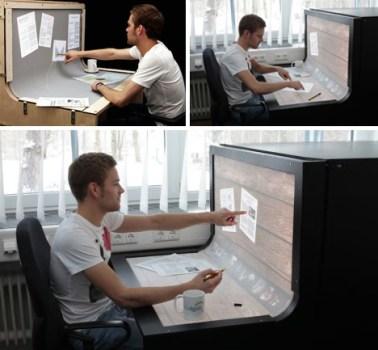 futuristic desktop computer design 378x350 Futuristic Desktop: 3D Multi Touch Computer + Desk Design