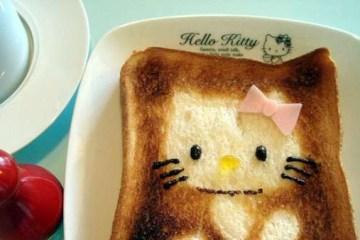 DIY สร้างสรรค์ภาพการ์ตูนบนขนมปัง..ง่ายๆจากฟลอยห่ออาหาร 2 - hello kitty