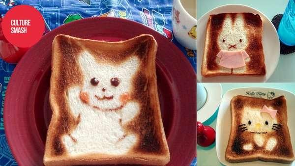 25551017 100521 DIY สร้างสรรค์ภาพการ์ตูนบนขนมปัง..ง่ายๆจากฟลอยห่ออาหาร