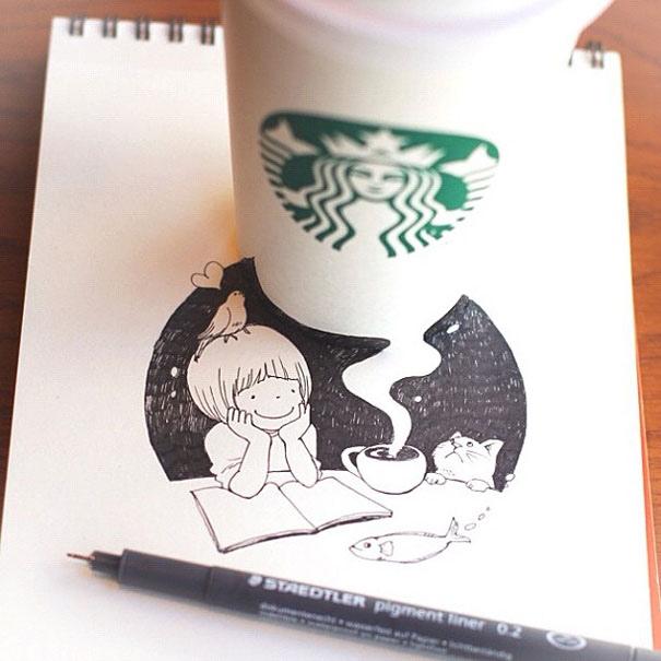 25551218 150959 3D comics series จากถ้วย Starbuck แทนกระดาษวาดเขียน