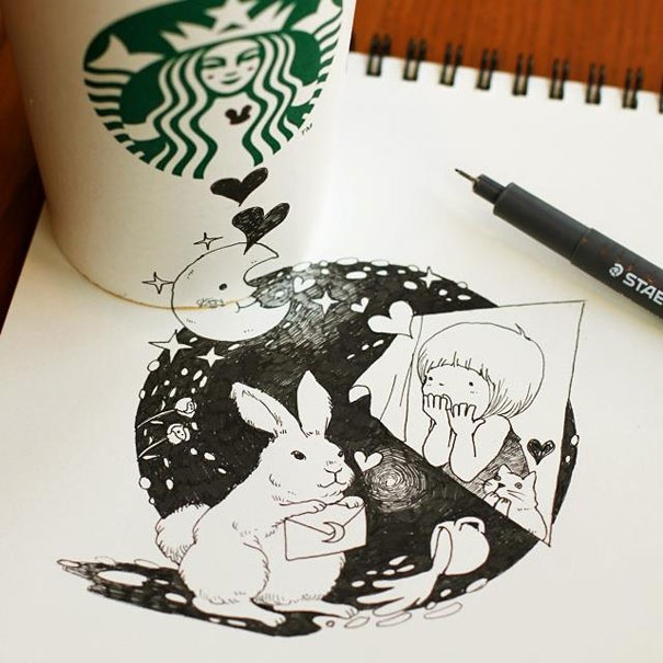 25551218 151016 3D comics series จากถ้วย Starbuck แทนกระดาษวาดเขียน
