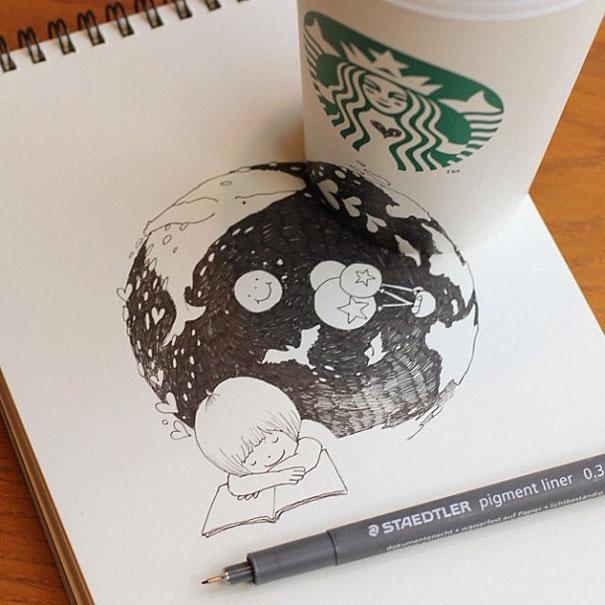 25551218 151044 3D comics series จากถ้วย Starbuck แทนกระดาษวาดเขียน