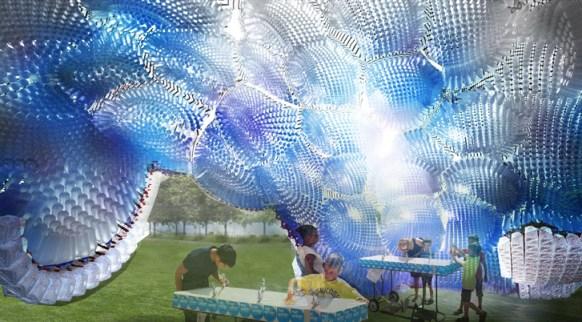 figment Head in the clouds Klimoski Chang3 Head in the Clouds พาวิเลียนจำลองท้องฟ้าจากขวดพลาสติก 58,780 ชิ้น