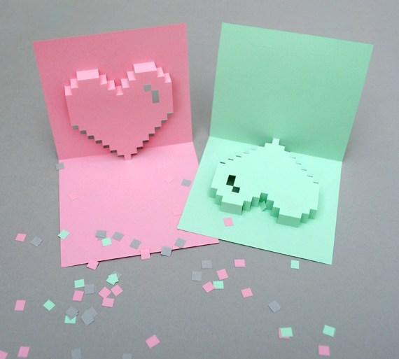 การ์ดวาเลนไทน์แบบ Popup Pixel พร้อมแบบ ทำเองได้ด้วยอุปกรณ์แถวโต๊ะทำงาน 29 - paper