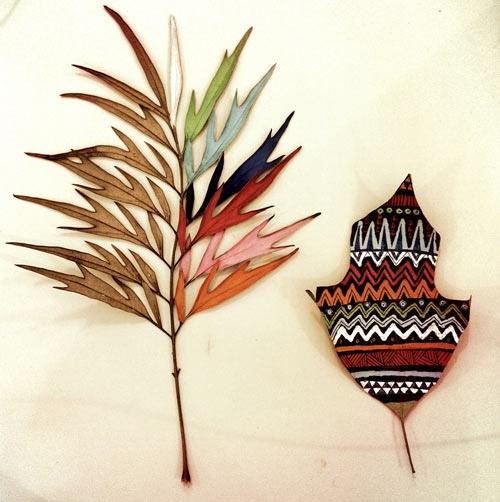เมื่อศิลปะมาเจอกับธรรมชาติ ภาพวาดบนใบไม้ โดย GABEE MEYER 13 - GABEE MEYER
