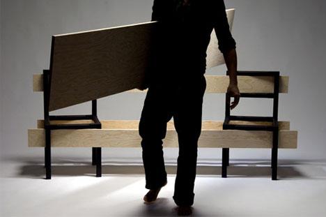 modular bench1 DIYม้านั่ง ที่เกิดขึ้นได้ง่ายๆจากเก้าอี้ 2 ตัว กับไม้ 5 แผ่น