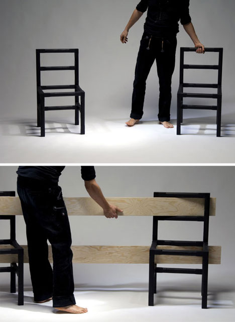 modular simple diy bench 1 DIYม้านั่ง ที่เกิดขึ้นได้ง่ายๆจากเก้าอี้ 2 ตัว กับไม้ 5 แผ่น
