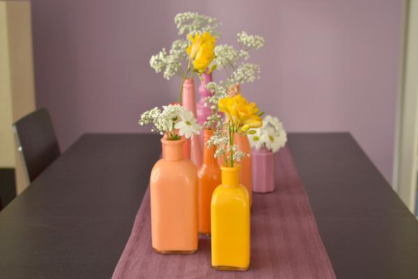 13botellas pintadas jarrones DIY เปลี่ยนขวดใช้แล้ว เป็นแจกันสีสันสวยงาม