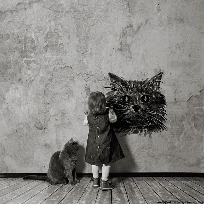 25560420 221822 เก็บความทรงจำดีๆไว้กับภาพขาวดำ..มิตรภาพระหว่างเด็กสาว 4 ขวบ กับแมวจอมกวน..