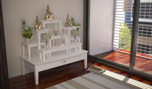 โต๊ะหมู่บูชาหมู่7 สีขาว