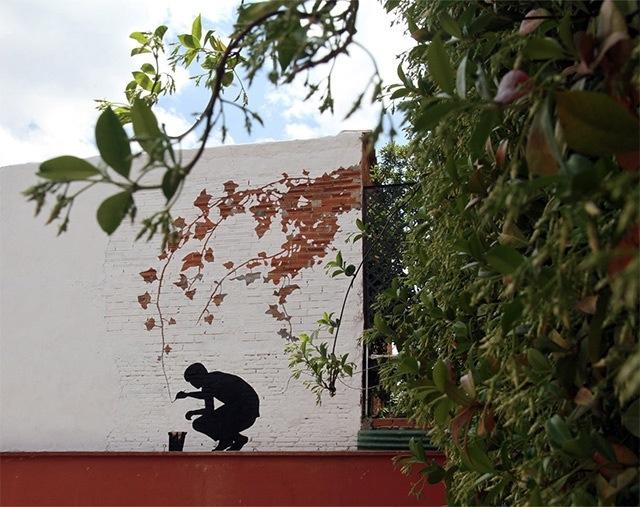 25560626 173928 ภาพวาดจากลอยแตกบนกำแพง..Subtractive Street Art โดย Pejac