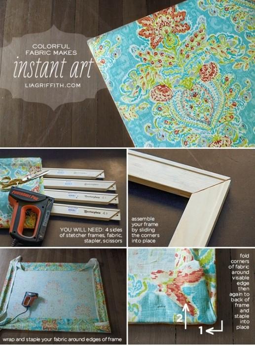 25560710 101724 DIY สร้างงานศิลปะติดผนัง หรือแทนผ้าม่าน ด้วยผ้าสวยๆในกรอบผ้าใบ