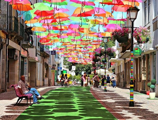 25560710 192354 ถนนที่คลุมด้วยร่มในโปรตุเกสกลับมาอีกครั้งในปีนี้ สีสันแตกต่างจากเดิม แต่ยังสวยสดใสเหมือนเดิม