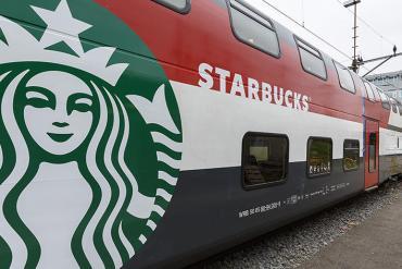 The train is hiding a Starbucks store inside 19 - train