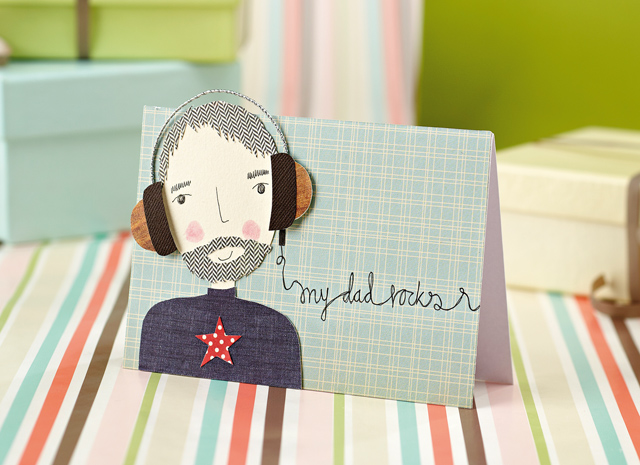 fathers day cards on a striped background