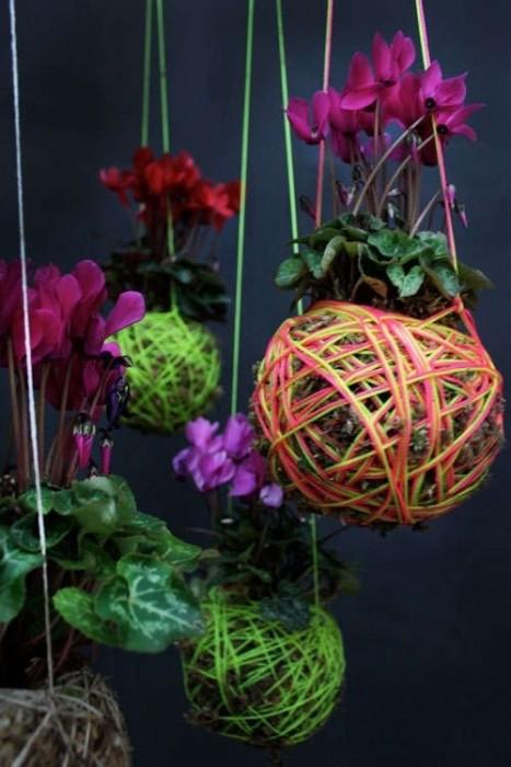 25570108 233835 DIY string garden..สวนแขวน จากกระถางเชือก และไหมพรม