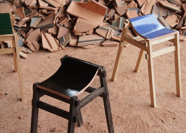 เก้าอี้ จากกระเบื้องมุมหลังคาที่ถูกทิ้งจากโรงงาน โดย tsuyoshi-hayashi 13 -