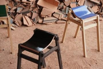 เก้าอี้ จากกระเบื้องมุมหลังคาที่ถูกทิ้งจากโรงงาน โดย tsuyoshi-hayashi 40 -