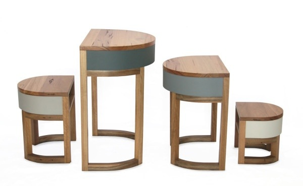 25570306 193843 TABLES FOUR TWO โต๊ะเก้าอี้ 2ชุด ซ้อนเรียงกันอย่างฉลาด สำหรับบ้านพื้นที่จำกัด