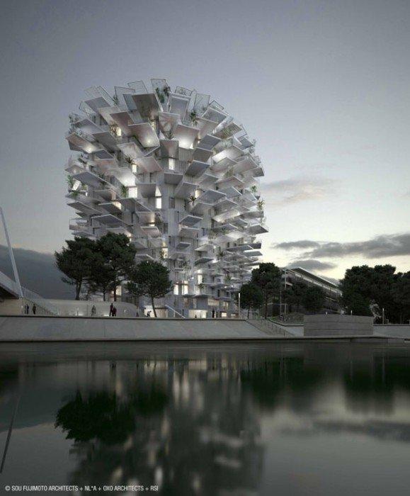 25570410 082834 Arbre Blanc..อาคารที่เสมือนต้นไม้สีขาว แตกกิ่งก้านออกรับสายลม แสงแดด
