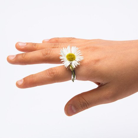 Spring rings by Gahee Kang incorporate flowers dezeen 3 Blooming Jewelry, Spring rings by Gahee Kang