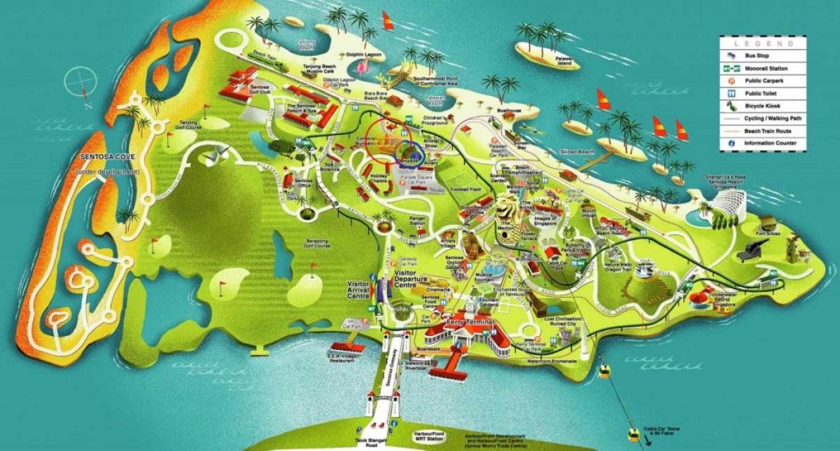sentosa map เที่ยวสวนสนุก Sentosa ประเทศสิงคโปร์
