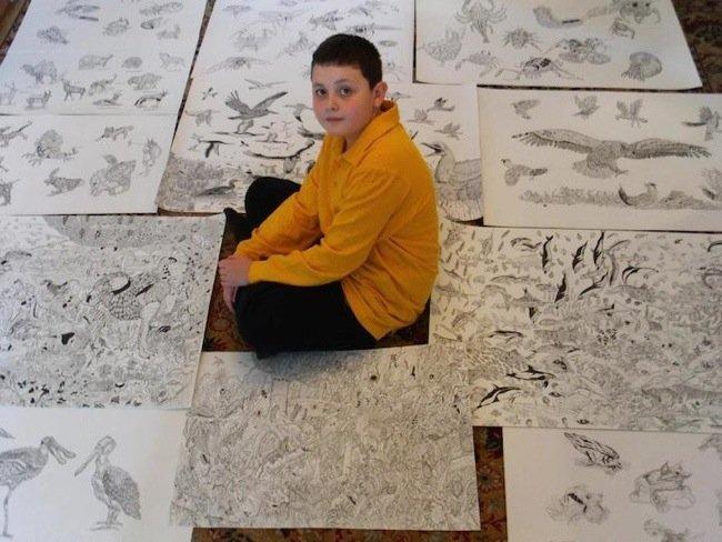 25570509 080622 ศิลปินเด็กอายุ11ปี สร้างผลงานชีวิตสัตว์ที่เต็มไปด้วยรายละเอียด