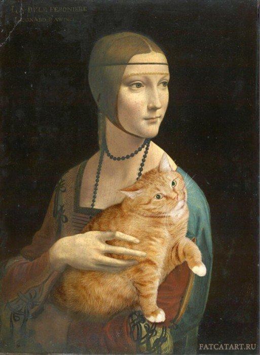 20140608 140031 50431184 ศิลปินรัสเซียวาดภาพแมวอ้วนของเขาเข้าไปในงานศิลป์ระดับคลาสสิคของโลก
