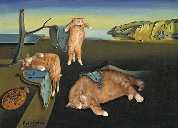 20140608 140342 50622989 ศิลปินรัสเซียวาดภาพแมวอ้วนของเขาเข้าไปในงานศิลป์ระดับคลาสสิคของโลก
