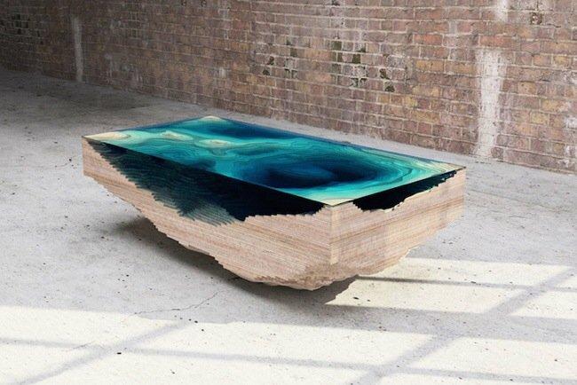 20140705 113329 41609673 โต๊ะ ที่จำลองภาพมหาสมุทร และแผ่นดินได้งดงาม จากแผ่นไม้ และกระจก