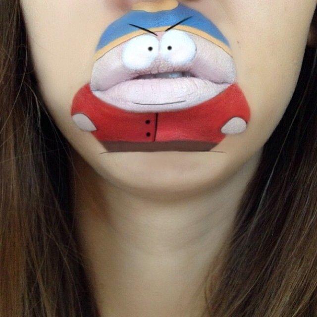 IMG 4378 ศิลปินช่างแต่งหน้า สร้างภาพการ์ตูนให้มีชีวิตบนปากและคางของเธอ