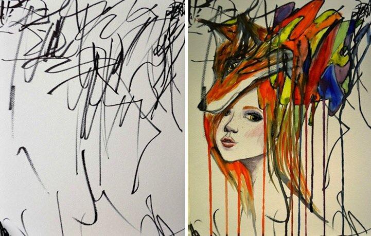 IMG 5196 ศิลปินเปลี่ยนภาพขีดเขียนเลอะๆของลูกสาววัย2ขวบ เป็นงานศิลปะ