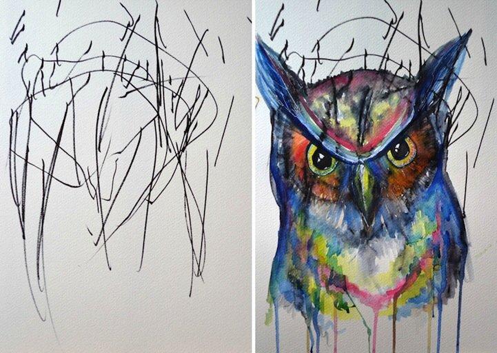 ศิลปินเปลี่ยนภาพขีดเขียนเลอะๆของลูกสาววัย2ขวบ เป็นงานศิลปะ 13 -