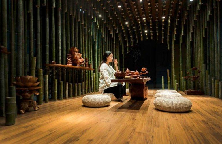 จิตสันติและสงบในห้องดื่มน้ำชา อารมณ์ไผ่และดอกบัวไม้ 13 -