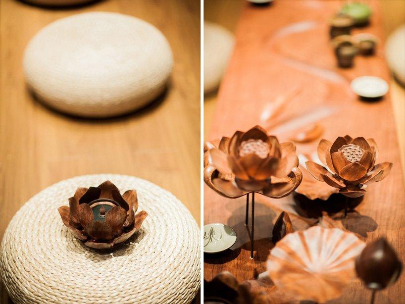 Bamboo 07 จิตสันติและสงบในห้องดื่มน้ำชา อารมณ์ไผ่และดอกบัวไม้