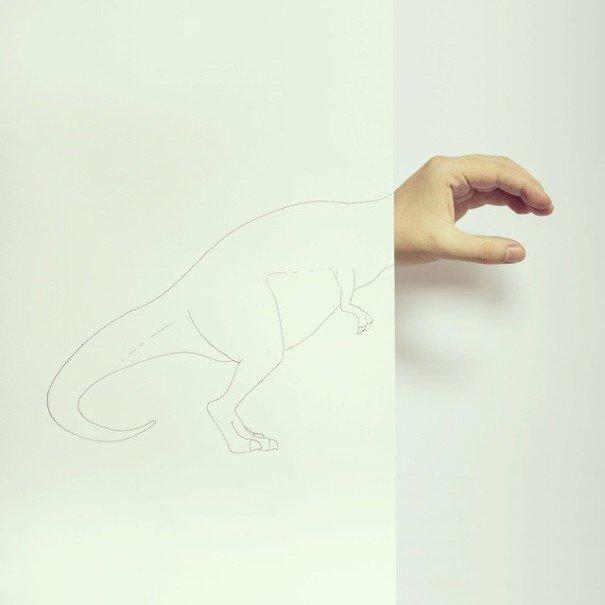 IMG 7224 เมื่อศิลปินอารมณ์ดี สร้างภาพลายเส้นง่ายๆ กับนิ้วมือของเขาเอง