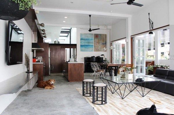 ปรับปรุงทาวน์เฮาส์เก่า 60ปี เป็นบ้านสมัยใหม่ พื้นคอนกรีต สว่าง โปร่ง โล่ง 13 - concrete floor