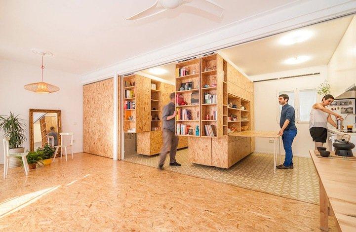 ตู้ที่เลื่อนไปมา ทำให้เกิดพื้นที่ทั้งห้องนอน ห้องนั่งเล่น ห้องครัว..เเหมาะสำหรับบ้านขนาดเล็ก 16 - คอนโด