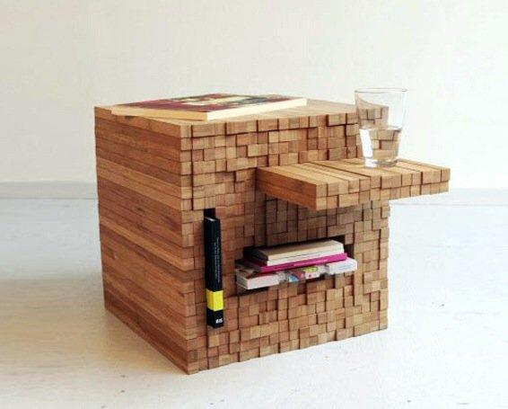 กองไม้รวมกันเป็นโต๊ะ ชั้น ช่องเก็บของ เพียงดันไม้เข้าไป หรือดึงไม้ออกมา 13 - bamboo