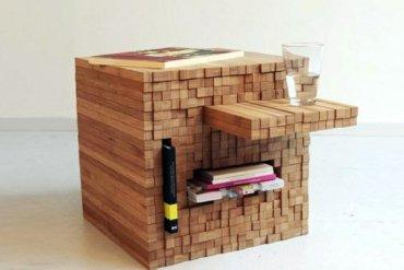 กองไม้รวมกันเป็นโต๊ะ ชั้น ช่องเก็บของ เพียงดันไม้เข้าไป หรือดึงไม้ออกมา 15 - ไม้ไผ่