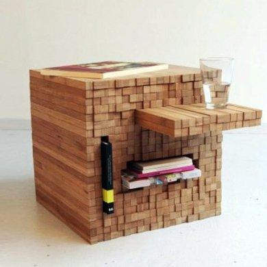 กองไม้รวมกันเป็นโต๊ะ ชั้น ช่องเก็บของ เพียงดันไม้เข้าไป หรือดึงไม้ออกมา 25 - bamboo