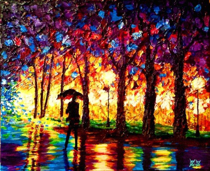 ศิลปินตาบอดสนิท วาดภาพที่เต็มไปด้วยสีสันด้วยการสัมผัส พื้นผิวของสีและผ้า 14 - Art & Design