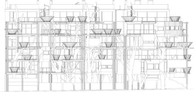 อาคารที่ปกคลุมด้วยสนิมเหล็กและต้นไม้สีเขียว เสมือนกับบ้านต้นไม้ 16 - Apartment
