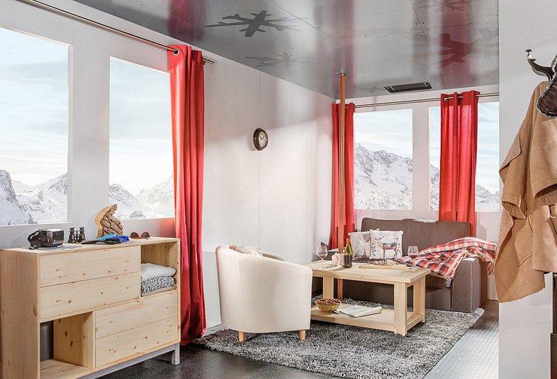 airbnb cable car 9000 feet room designrulz 4 French Alps Ski Resort กระเช้าลอยฟ้ารีสอร์ท