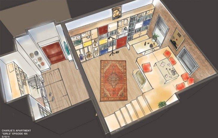 """แบบบ้านสุดเล็กแต่ใช้พื้นที่สุดคุ้มเพียง14 ตรม. จากซีรีย์ """"Girl"""" ทาง HBO 15 - Apartment"""